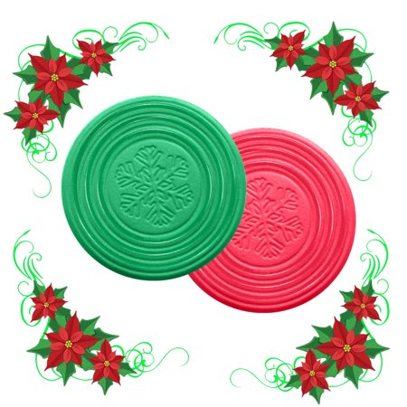 Christmas Coasters Metric USA 4 inches Set of 6 Green and Red Drink Coasters ABSORBS MOISTURE Ideal for Christmas Stocking Stuffers Holiday Gifts](Light Coaster)