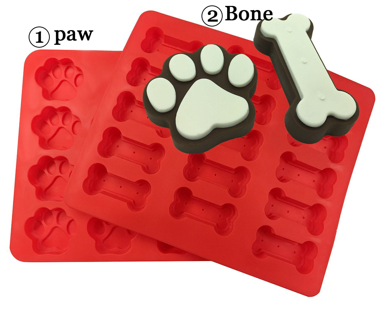 CHARMED Kitchen Dog Treats Silicone Cookie Cake Pan Mold Bone-Shaped and Paw Prints; Pack of 2 by