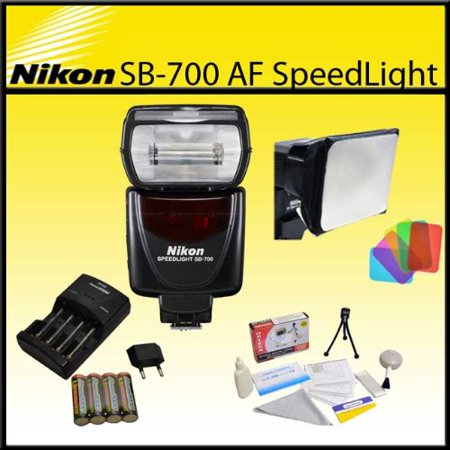Nikon SB-700 AF Speedlight Flash with Opteka SB-110 Universal Gel Studio Soft Box, 4x AA Batteries and Charger and Cleaning Kit for D3200, D3300, D5000, D5100, D5200, D5300, D7000, D7100 SLR Cameras