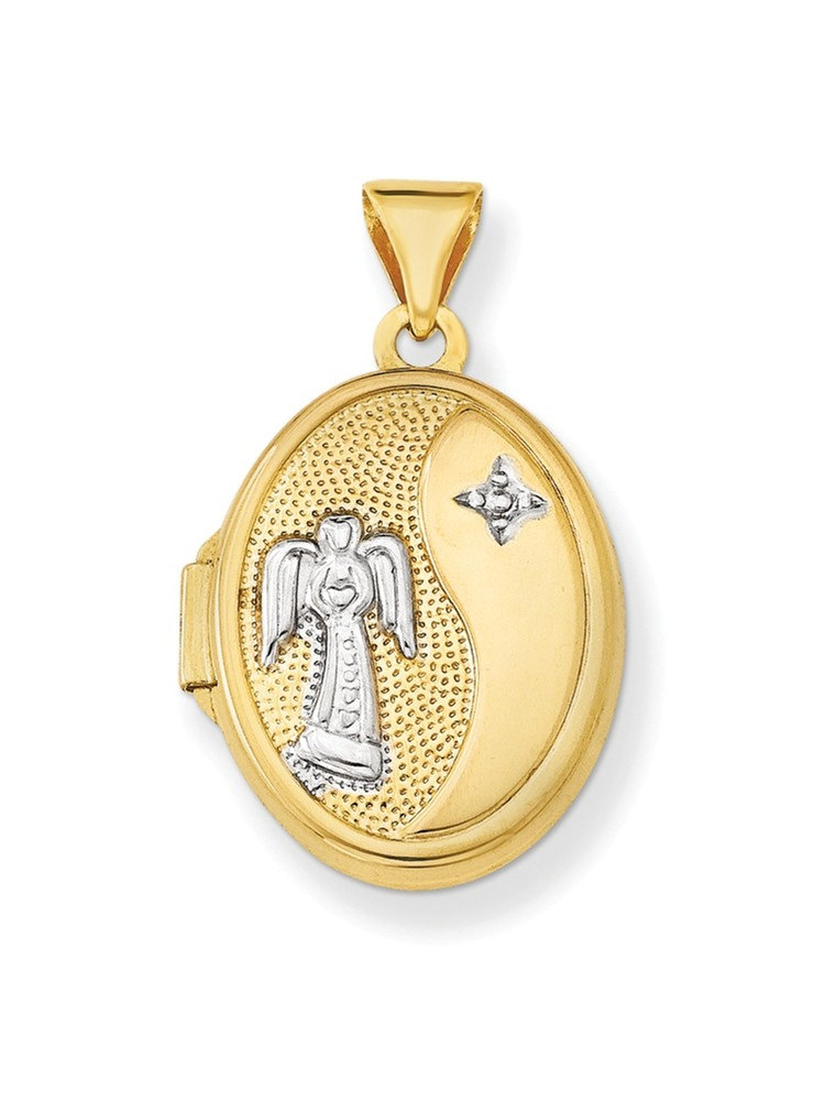 ICE CARATS 14kt Yellow Gold 17mm Guardian Angel Oval Photo Pendant Charm Locket Chain Necklace That Holds Pictures Fine... by IceCarats Designer Jewelry Gift USA