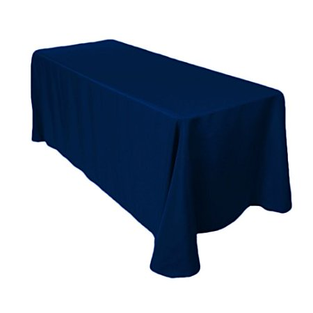 Gee Di Moda Tablecloth Rectangular 90 x 132 inch Polyester - Navy Blue Tablecloth - Thanksgiving Tablecloth Wedding Tablecloth Dining Room Table Cloth Rectangle Party Tablecloths for Rectangle Tables