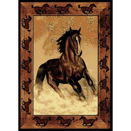 Designer Home Epoch Area Rugs - 910-06930 Novelty Black Stallion Horses Cowboy Ranch Rug 5