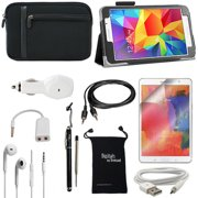 Tab 4 7.0 Case - DigitalsOnDemand ® 10-Item Accessory Kit for Samsung Galaxy Tab 4 7.0 Inch - Leather Case, Sleeve Cover, Screen Protector, Stylus, USB Cable, Car Charger, Earphones, AUX, Travel Bag