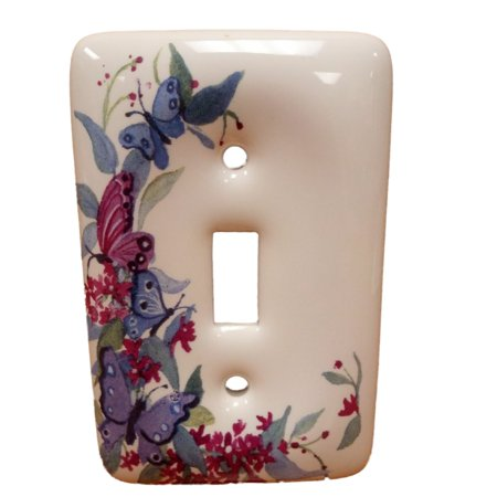 Leviton Butterfly Ceramic Toggle Switch Cover Wallplate Switchplate 89501-FLY