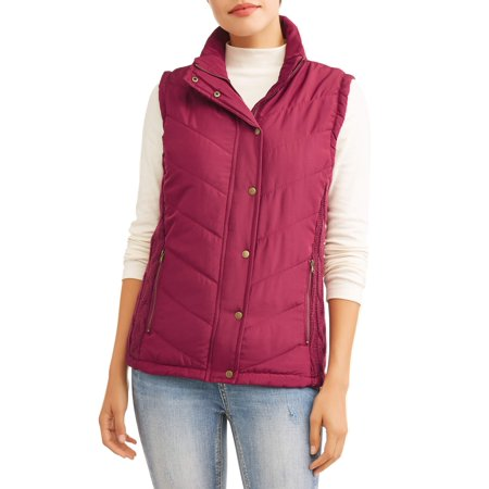 Women's Puffer Vest With Cable Knit Side Panels - Gangster Vest