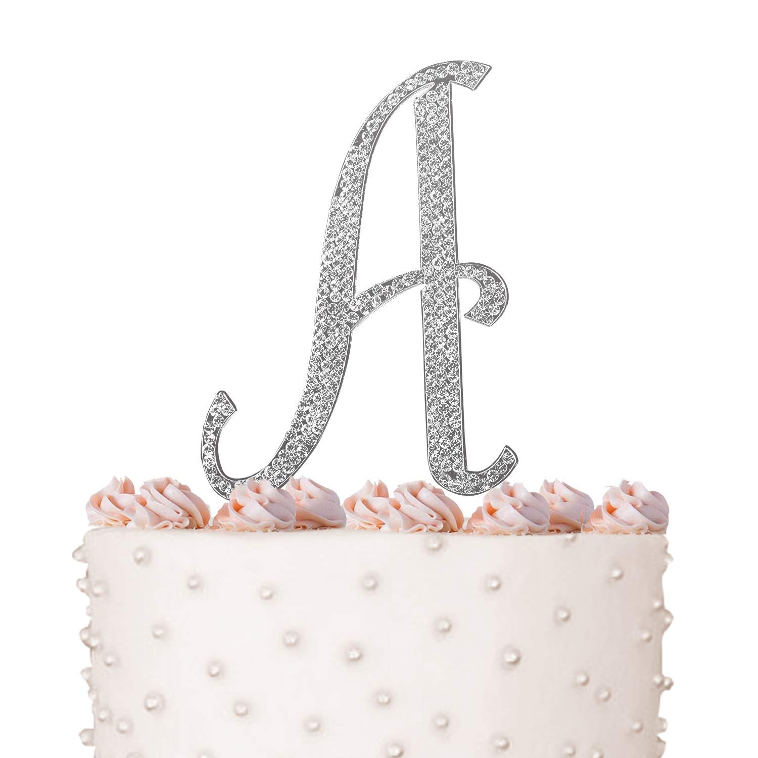 Letter A, Initials, Happy Birthday Cake Topper, Wedding, Anniversary, Vow Renewal, Crystal Rhinestones on Silver Metal, Party Decorations, Favors