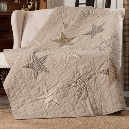 Khaki Tan Farmhouse Independence Day Decor Miller Farm Rod Pocket Cotton Pre-Washed Patchwork Chambray Star Throw