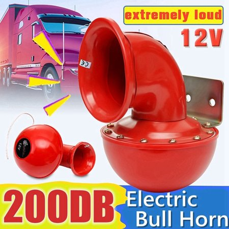 Truck Air Horn Kits - KKmoon Loud 200DB 12V Red Electric Bull Horn Air Horn Raging Sound For Car Motorcycle Truck Boat