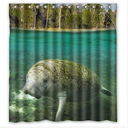 HelloDecor Manatee And Fish Shower Curtain Polyester Fabric Bathroom Decorative Size 66x72 Inches