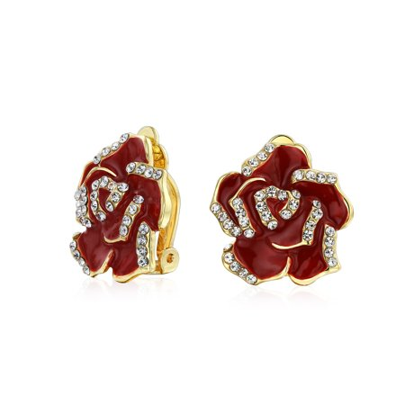 Red Enamel Rose Flower Crystal Edge Spring Retro Clip On Earrings For Women Non Pierced Ears 14K Gold Plated Brass Enamel Pierced Earrings