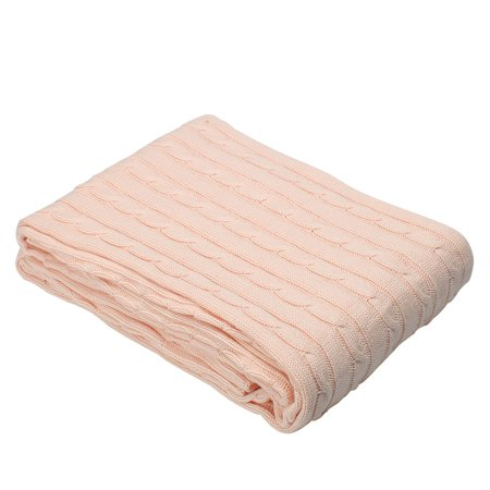Super Warm Cotton Knitted Throw Blanket Sleeping Cover Light Pink 47 X 71