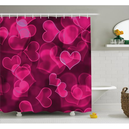 Hot Pink Shower Curtain, Cute Sweet Heart Shapes on Blurry Background Romantic Valentine's Day Design, Fabric Bathroom Set with Hooks, Magenta Hot Pink, by Ambesonne](Cute Shower Curtain)