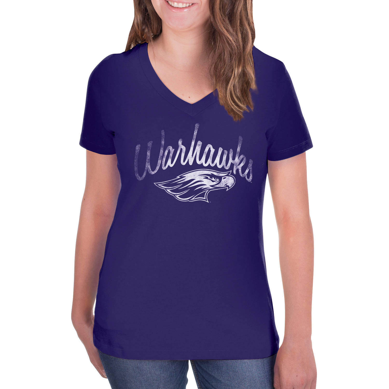 NCAA UW-Whitewater Warhawks Women's V-Neck Tunic Cotton Tee Shirt