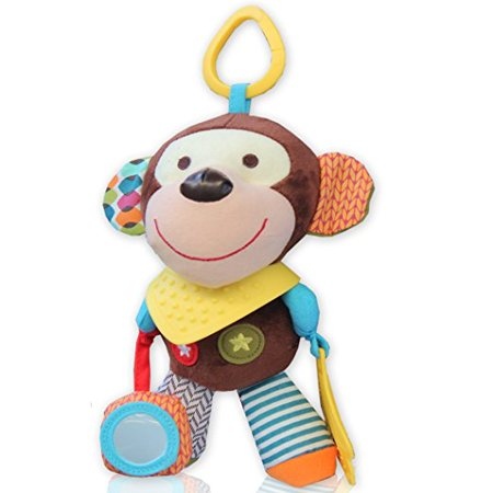 (Teether Teething Baby Toy Monkey Super Soft Infant Toddler Activity Toys with Rattle Ring Chime for extra Sensory Stimulation Ideal for Keeping Baby busy and Happy)