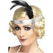 Womens Silver Satin Charleston Flapper Headband With Feather Costume Accessory
