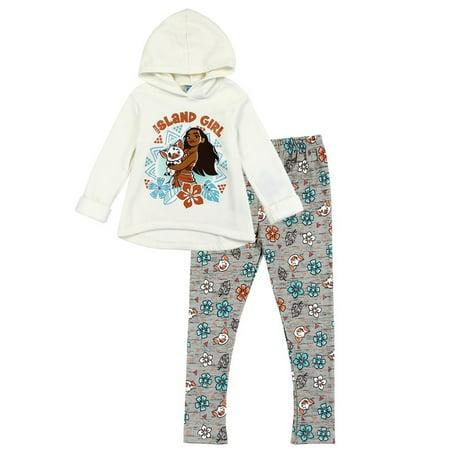 Disney Little Girls' Toddler Moana Hooded Fleece Top and Leggings Set - Manga Outfits