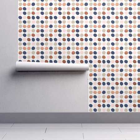 Removable Water Activated Wallpaper Rose Gold Dots Jumbo Dots Dot Dot Big Dots