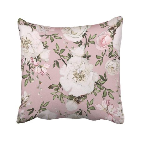 Pink Round Pillow (BPBOP Gray With Flowers And Leaves On Pink Watercolor Floral Pattern Rose In Pastel Color White Pillowcase Throw Pillow Cover Case 18x18 inches)