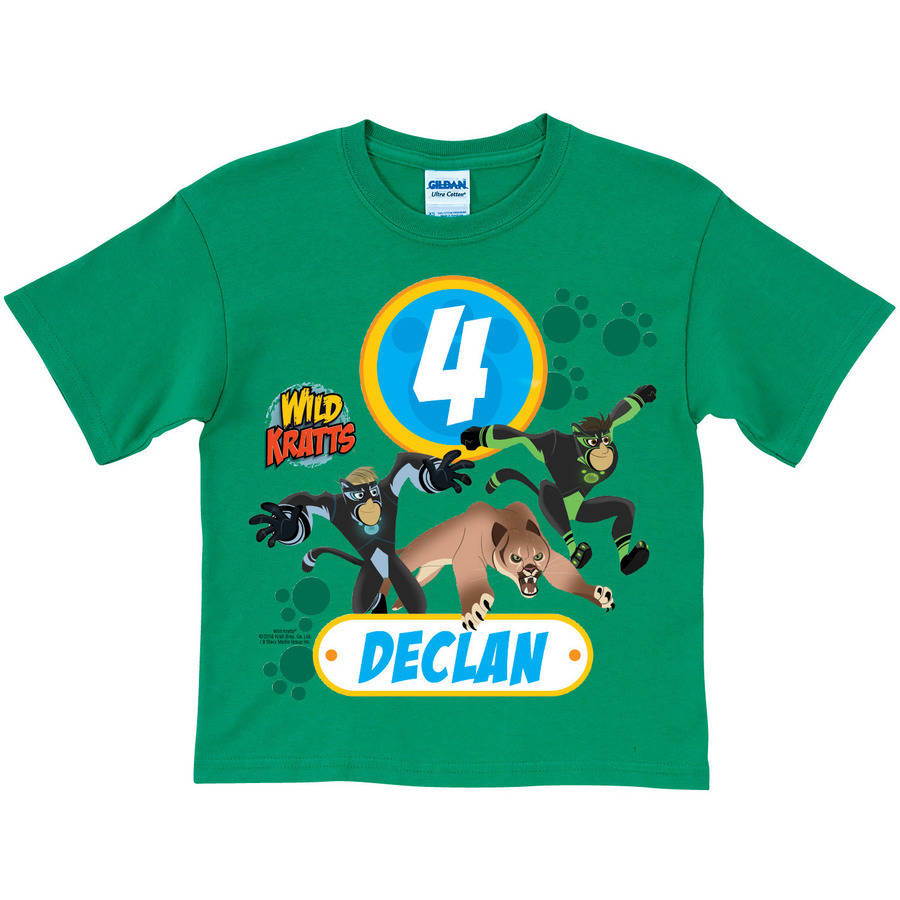 Personalized Wild Kratts Birthday Youth Green Tee
