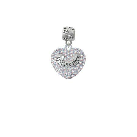 Silvertone Sisters Rock on AB Crystal Heart - Paw Print Charm Bead ()