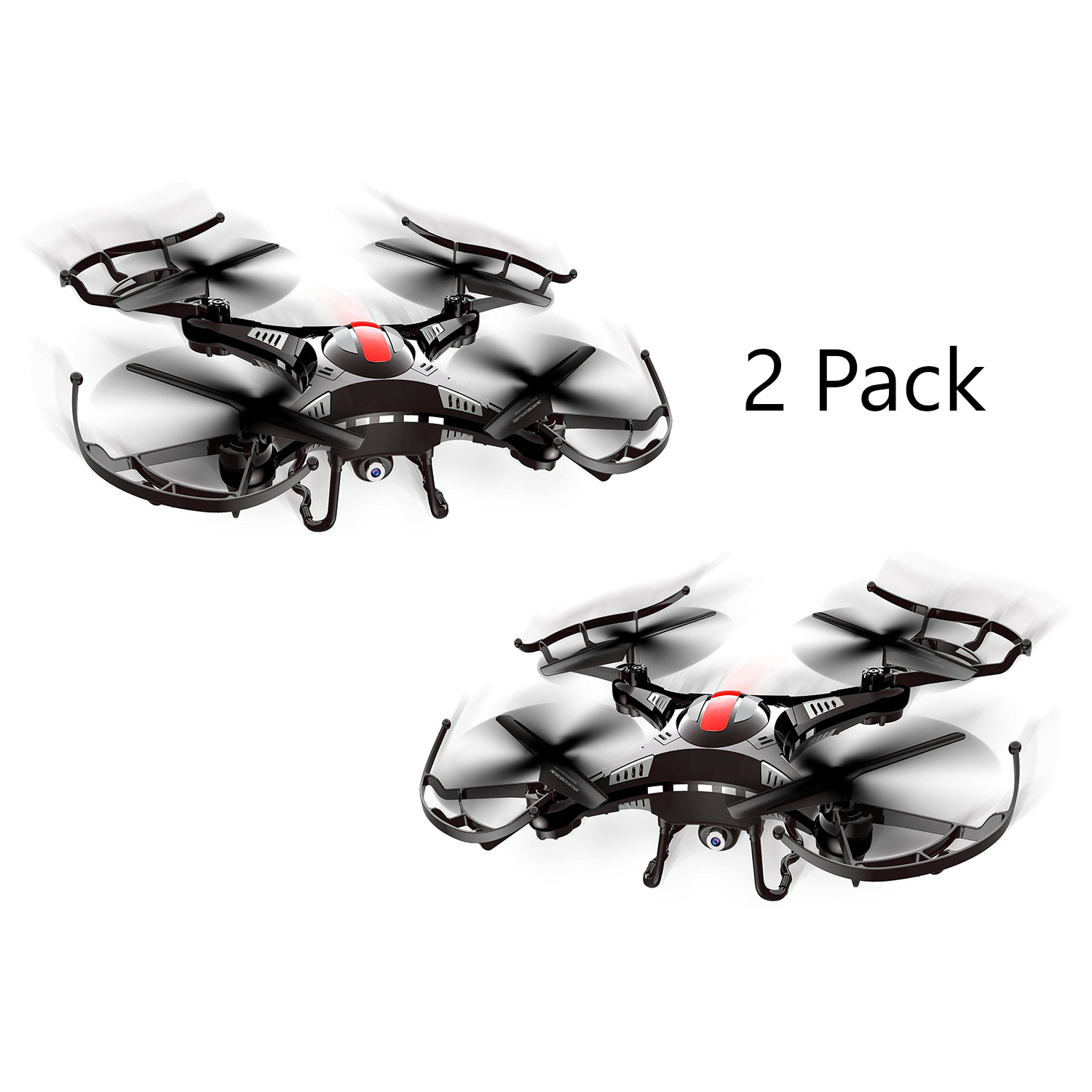 2 Pack Quadcopter Tumbler 2.4GHz Radio Control Flight Drone Video/Photo Camera