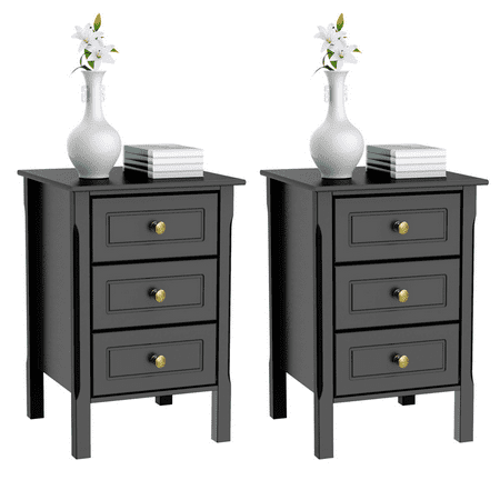 Set of 2 Nightstand Bedside Table End Side Stand Accent Table Cabinet 3 Drawers Bedroom Storage Furniture Black