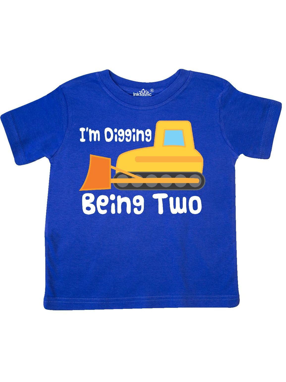 2nd Birthday Bulldozer Construction Truck Digging Toddler T-Shirt