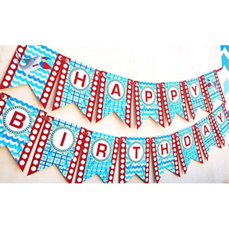 Shark Party Happy Birthday Banner Pool Party Pennant](Happy Birthday Shark)