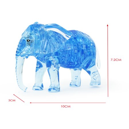 3D Crystal Puzzle Cute Elephant Model DIY Gadget Blocks Building Toy Gift BU (Gadgets Model)