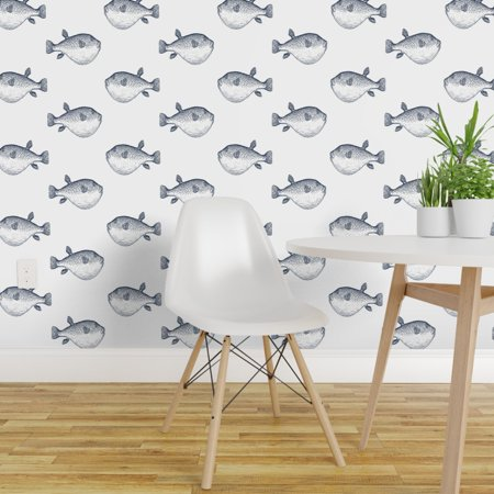 Peel and Stick Removable Wallpaper Blue And Whitel Blowfish Puffer Fis