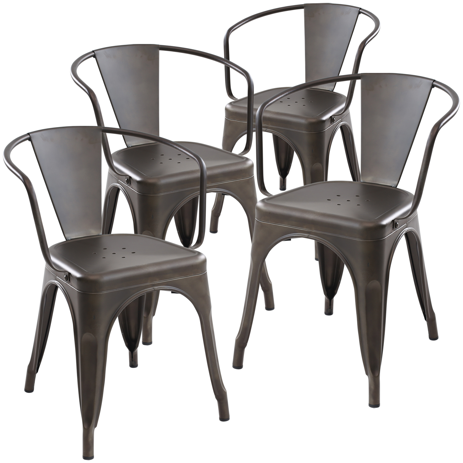 Poly and Bark Trattoria Arm Chair in Bronze (Set of 4)