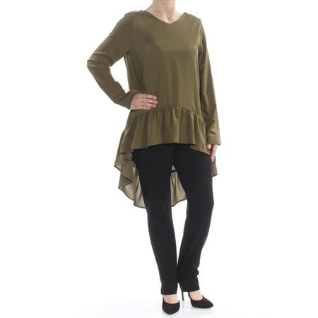 Verona Sleeve (VERONA Womens Green Ruffled Long Sleeve Hi-Lo Top  Size: S )