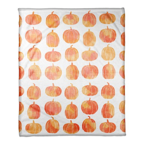 The Holiday Aisle Pumpkins Fleece Throw
