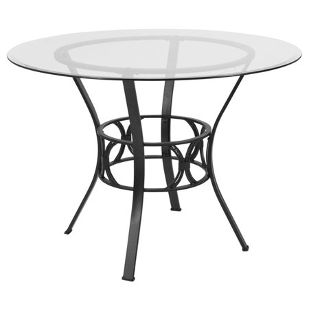 "Flash Furniture 42"" Round Glass Top Dining Table in Clear Black - image 2 de 2"