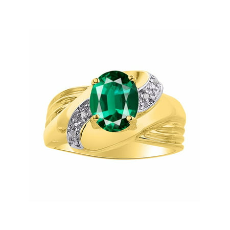 Diamond & Emerald Ring Set In Yellow Gold Plated Silver - Color Stone Birthstone Ring