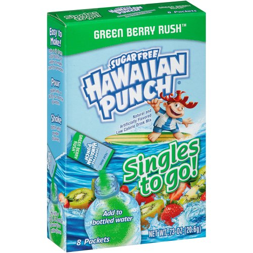Hawaiian Punch Sugar Free Green Berry Rush Drink Mix Singles to Go!, 8 count, 0.73 oz