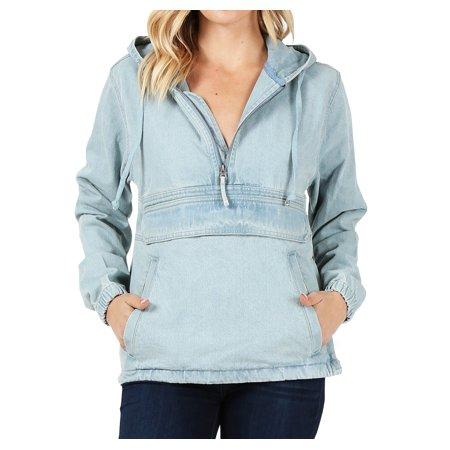 Women's Premium Cotton Casual Hoodie Half Zip Pullover Denim Jean Jacket (Light Blue, 2XL) ()