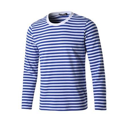 Allegra K Homme Encolure Torsadée Manches Longues Motif Rayé T-shirt - image 7 de 7
