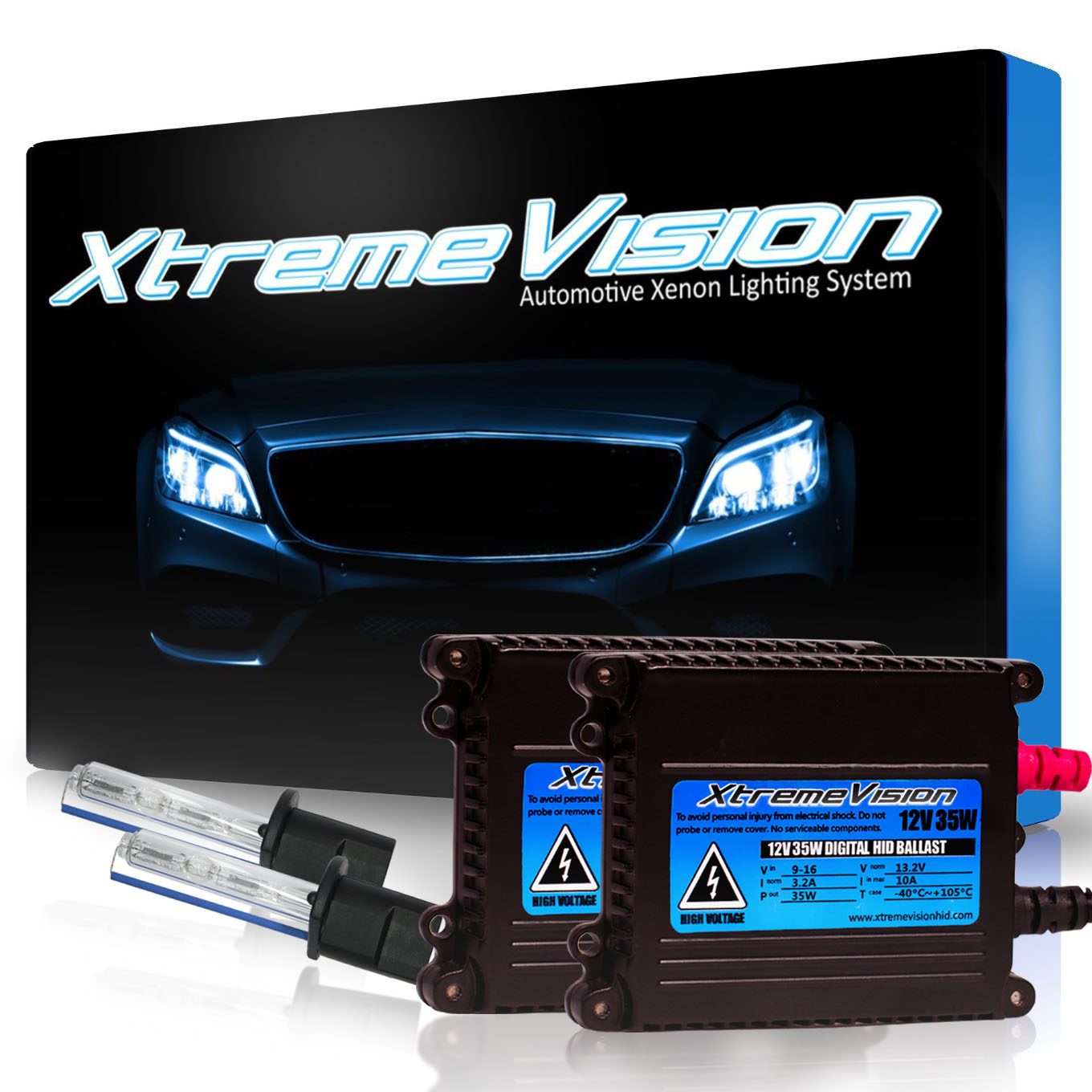 XtremeVision 35W HID Xenon Conversion Kit with Premium Slim Ballast - H1 8000K - Medium Blue - 2 Year Warranty