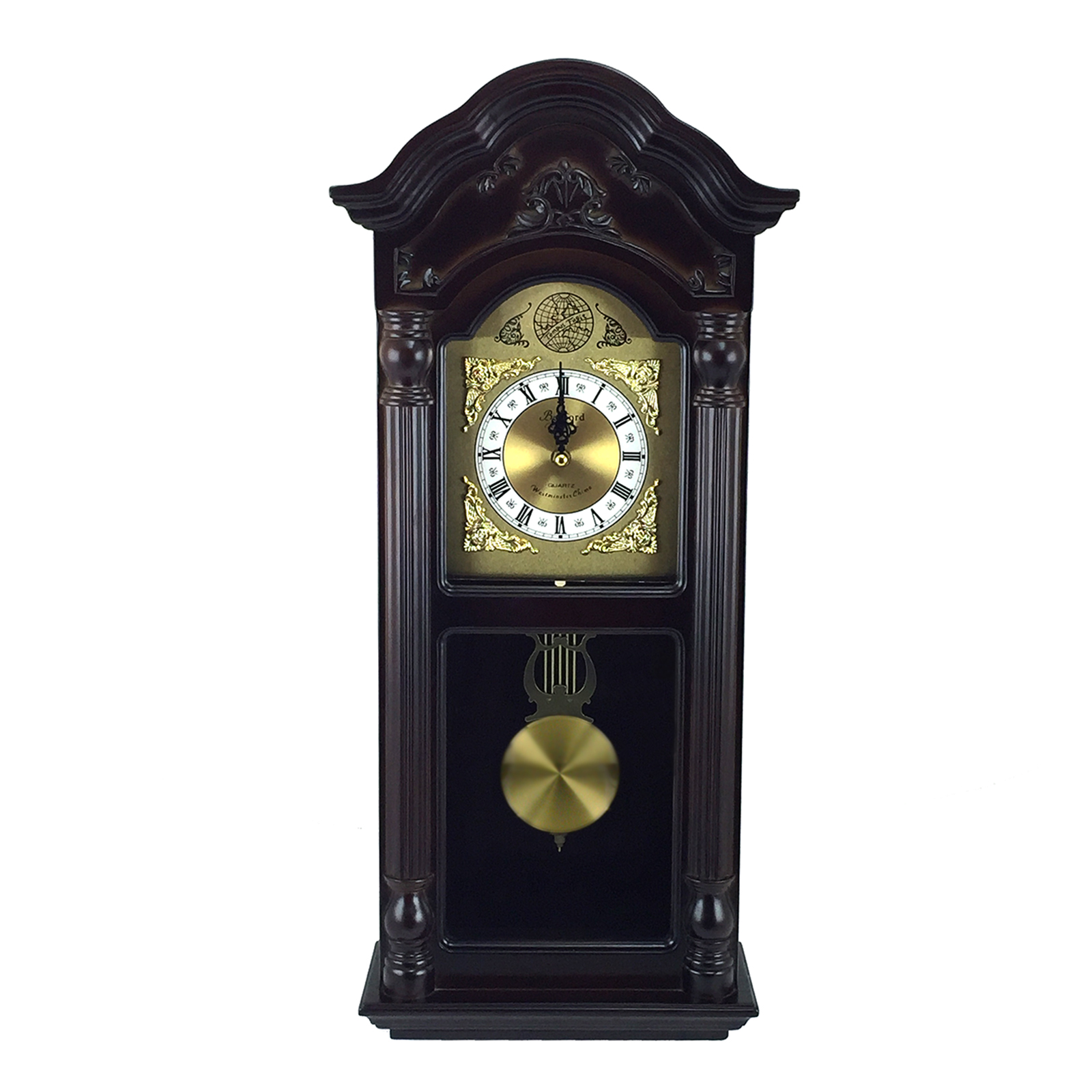"Bedford Clock Collection 25.5"" Antique Mahogany Cherry Oak Chiming Wall Clock with... by Bedford Clock Collection"
