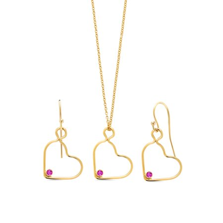 0.15 Ct Round Pink Sapphire 14K Gold Filled Heart Pendant Earrings Set With Chain