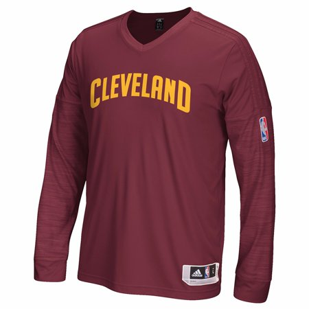 Cleveland Cavaliers Nba Adidas Navy Blue Authentic On Court Clima Performance Long Sleeve Shooter Shirt For Men