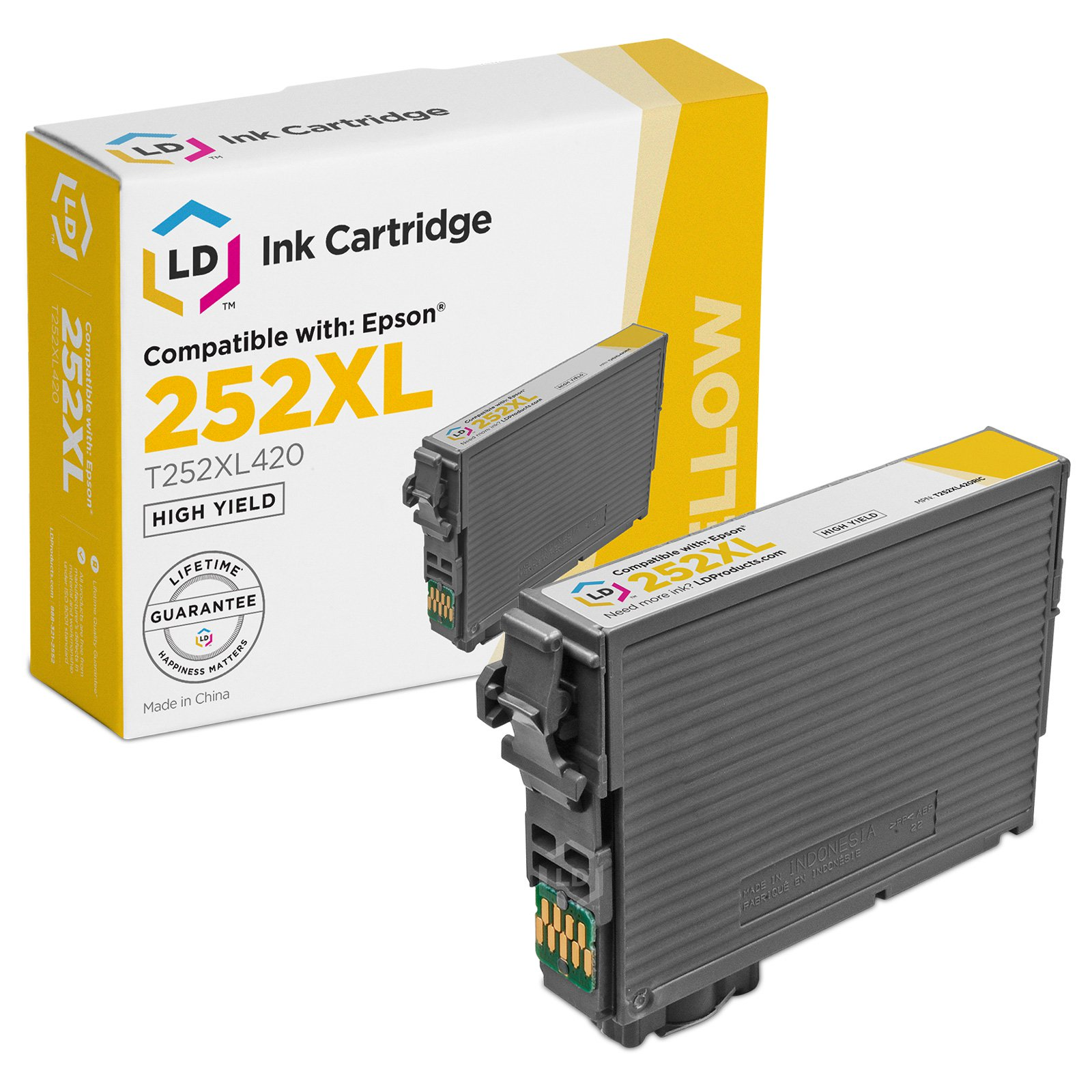 LD Remanufactured Epson 252 / 252XL / T252XL420 High Yield Yellow Cartridge for use in WorkForce WF-3620, WF-3640, WF-7110, WF-7610 & WF-7620
