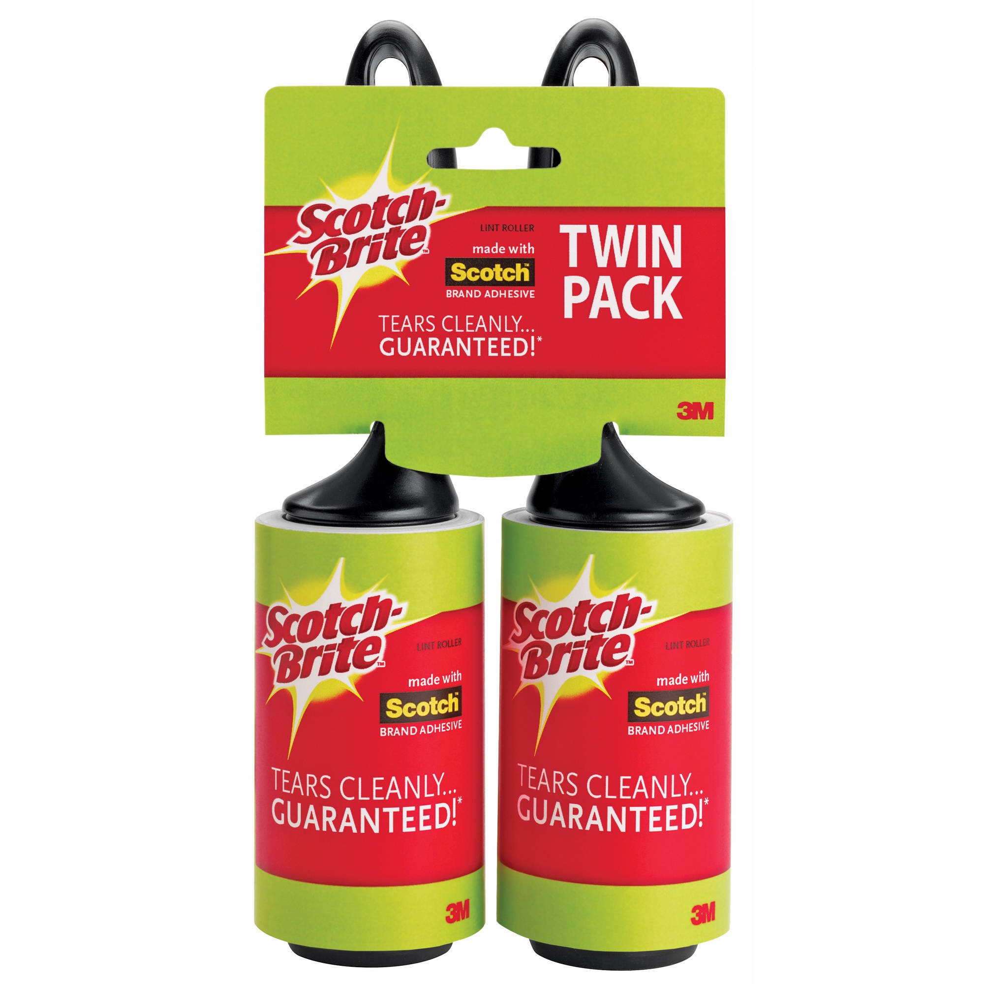Scotch-Brite Lint Roller Twin Pack, 65 Sheets per Roller, 2 Rollers per Pack
