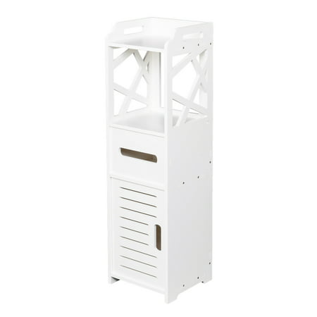 White PVC Floor Standing Storage Cabinet Bedroom Organizer Furniture Living Room Bathroom Cabinet ()