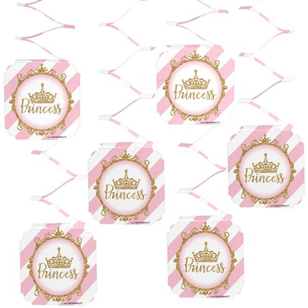 Little Princess Crown - Pink and Gold Princess Baby Shower or Birthday Party Hanging Decorations - 6 Count (Princess Baby Shower Decorations)