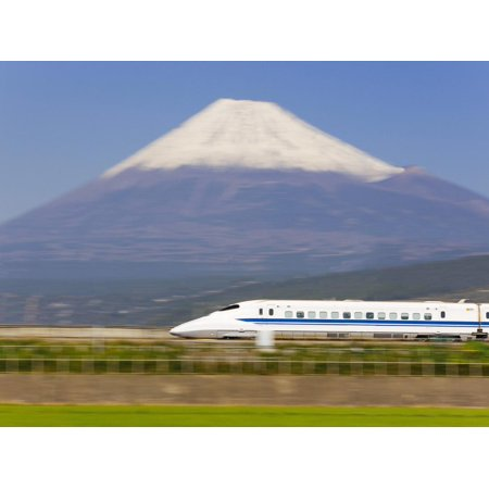 Japan, Houshu, Shinkansen (Bullet Train) Passing Mount Fuji Print Wall Art By Gavin Hellier Bullet Train Mount Fuji Japan