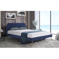 Mobilis Mid Century Diamond Tufted Bed Frame with Gold Plated Legs, Navy, FULL
