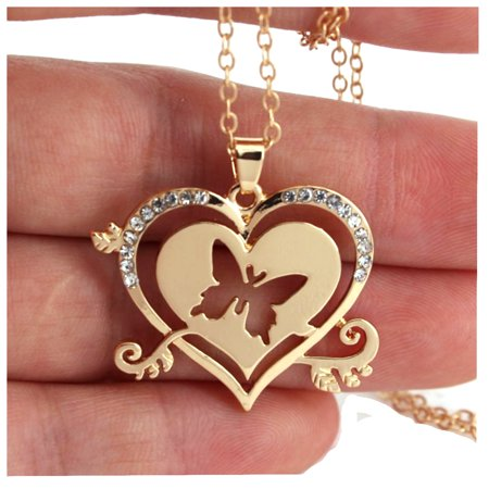 Goldtone cut out heart butterfly Necklace Crystal Pendant, J-362-B (Butterfly Cut Out)