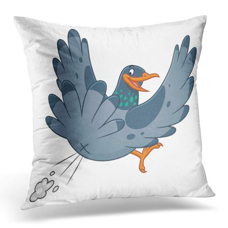 - ECCOT Gray Poop Snide Pooping Pigeon Bird Pillowcase Pillow Cover Cushion Case 18x18 inch